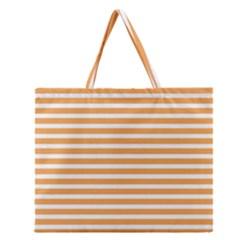 Horizontal Stripes Orange Zipper Large Tote Bag by AnjaniArt