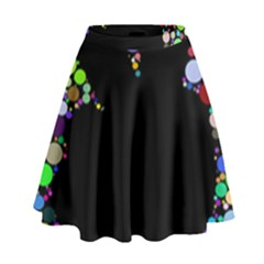 Prismatic Negative Space Comic Peace Hand Circles High Waist Skirt