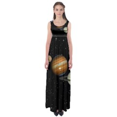 Outer Space Planets Solar System Empire Waist Maxi Dress