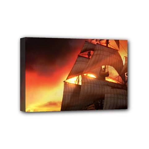 Pirate Ship Caribbean Mini Canvas 6  x 4  by Onesevenart