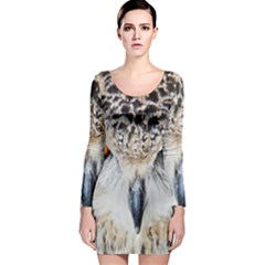 Owl Face Long Sleeve Velvet Bodycon Dress by Onesevenart