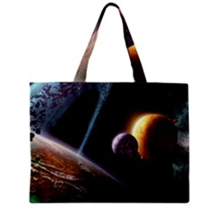 Planets In Space Zipper Mini Tote Bag by Onesevenart