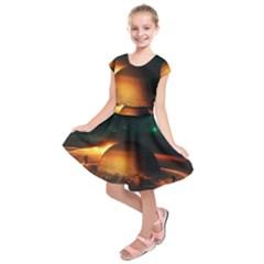Saturn Rings Fantasy Art Digital Kids  Short Sleeve Dress by Onesevenart