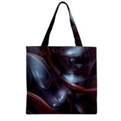 Shells Around Tubes Abstract Zipper Grocery Tote Bag by Onesevenart