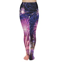 Singapore New Years Eve Holiday Fireworks City At Night Women s Tights by Onesevenart