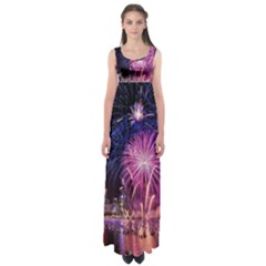 Singapore New Years Eve Holiday Fireworks City At Night Empire Waist Maxi Dress