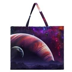 Space Art Nebula Zipper Large Tote Bag by Onesevenart