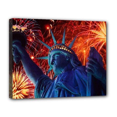 Statue Of Liberty Fireworks At Night United States Of America Canvas 14  X 11  by Onesevenart