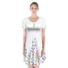 Prismatic Negative Space Butterflies Short Sleeve V-neck Flare Dress by AnjaniArt