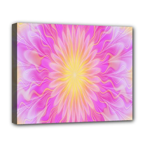 Round Bright Pink Flower Floral Deluxe Canvas 20  X 16   by AnjaniArt