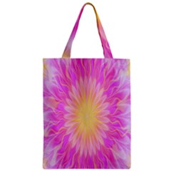 Round Bright Pink Flower Floral Zipper Classic Tote Bag by AnjaniArt