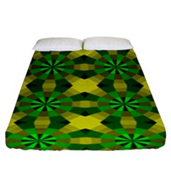 Background Colour Circle Yellow Green Fitted Sheet (king Size) by AnjaniArt