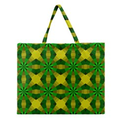 Background Colour Circle Yellow Green Zipper Large Tote Bag by AnjaniArt