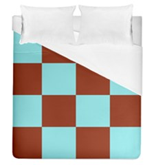 Box Chevron Brown Blue Duvet Cover (queen Size) by AnjaniArt