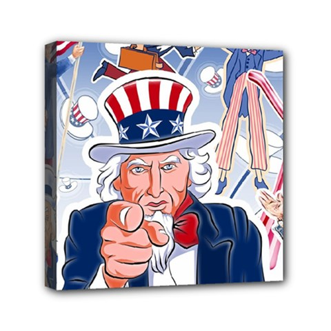 United States Of America Celebration Of Independence Day Uncle Sam Mini Canvas 6  X 6  by Onesevenart