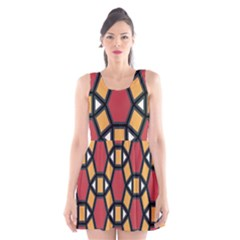 Circle Ball Red Yellow Scoop Neck Skater Dress by AnjaniArt