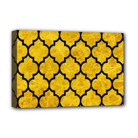 Tile1 Black Marble & Yellow Marble (r) Deluxe Canvas 18  X 12  (stretched) by trendistuff