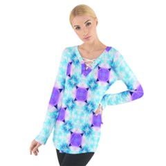 Background Colour Flower Rainbow Women s Tie Up Tee by AnjaniArt