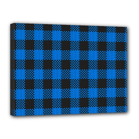 Black Blue Check Woven Fabric Canvas 16  X 12  by AnjaniArt