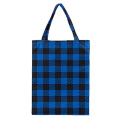 Black Blue Check Woven Fabric Classic Tote Bag by AnjaniArt