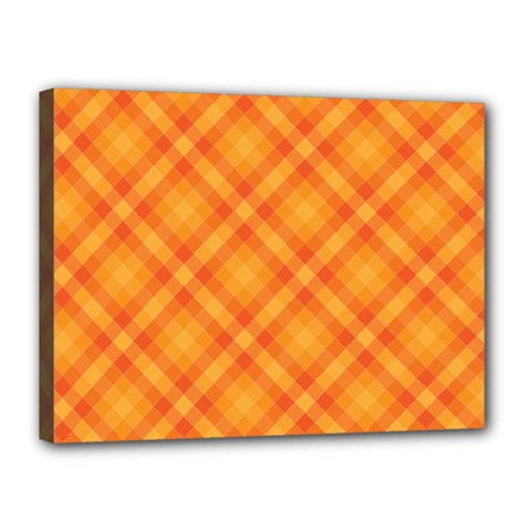 Clipart Orange Gingham Checkered Background Canvas 16  X 12  by AnjaniArt