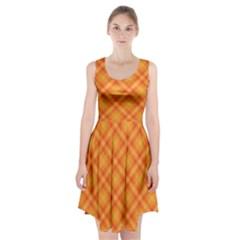 Clipart Orange Gingham Checkered Background Racerback Midi Dress