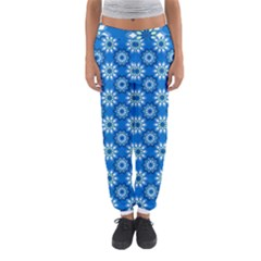 Blue Flower Clipart Floral Background Women s Jogger Sweatpants by AnjaniArt