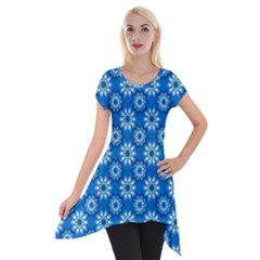 Blue Flower Clipart Floral Background Short Sleeve Side Drop Tunic by AnjaniArt