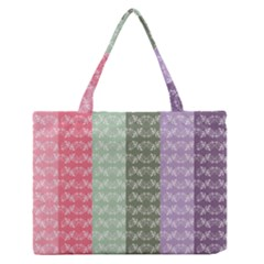 Digital Print Scrapbook Flower Leaf Color Green Gray Purple Blue Pink Medium Zipper Tote Bag by AnjaniArt