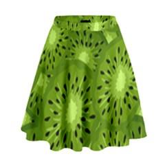 Fruit Kiwi Green High Waist Skirt by AnjaniArt