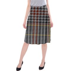 Glen Woven Fabric Midi Beach Skirt by AnjaniArt