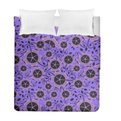 Flower Floral Purple Leaf Background Duvet Cover Double Side (Full/ Double Size) by AnjaniArt