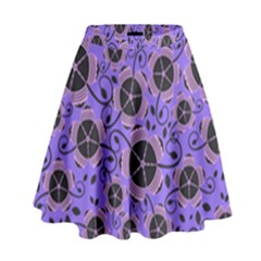 Flower Floral Purple Leaf Background High Waist Skirt by AnjaniArt
