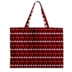 Heart Love Pink Red Wave Chevron Valentine Day Zipper Mini Tote Bag by AnjaniArt