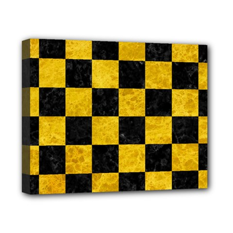 Square1 Black Marble & Yellow Marble Canvas 10  X 8  (stretched) by trendistuff