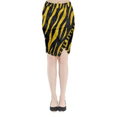 Skin3 Black Marble & Yellow Marble Midi Wrap Pencil Skirt by trendistuff