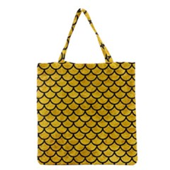 Scales1 Black Marble & Yellow Marble (r) Grocery Tote Bag by trendistuff