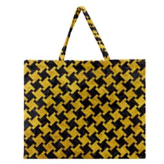 Houndstooth2 Black Marble & Yellow Marble Zipper Large Tote Bag by trendistuff