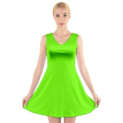 Bright Fluorescent Neon Green V-Neck Sleeveless Skater Dress