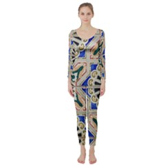 Ceramic Portugal Tiles Wall Long Sleeve Catsuit by Amaryn4rt