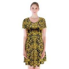 DMS2 BK-YL MARBLE Short Sleeve V-neck Flare Dress by trendistuff