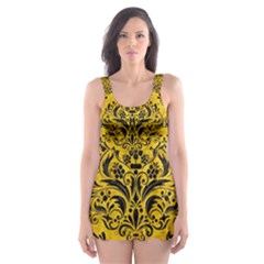 Damask1 Black Marble & Yellow Marble (r) Skater Dress Swimsuit by trendistuff