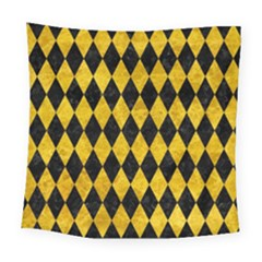 Diamond1 Black Marble & Yellow Marble Square Tapestry (large)