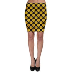 Circles2 Black Marble & Yellow Marble Bodycon Skirt by trendistuff