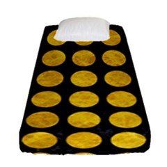 Circles1 Black Marble & Yellow Marble Fitted Sheet (single Size) by trendistuff