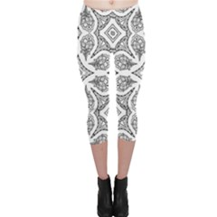 Mandala Line Art Black And White Capri Leggings