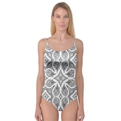 Mandala Line Art Black And White Camisole Leotard  by Amaryn4rt