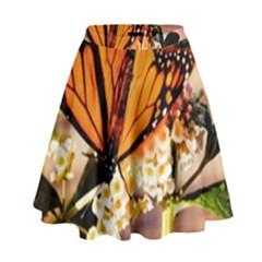 Monarch Butterfly Nature Orange High Waist Skirt by Amaryn4rt