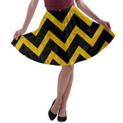 Chevron9 Black Marble & Yellow Marble A Line Skater Skirt by trendistuff