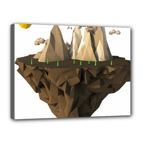 Low Poly Floating Island 3d Render Canvas 16  X 12  by Amaryn4rt